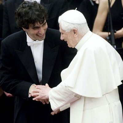 Carlo Ponti with Pope Benedict XVI in 2010